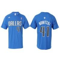 Dallas Mavericks #41 Dirk Nowitzki Sky Blue NBA T-Shirts