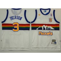 Denver Nuggets #3 Allen Iverson White Throwback Stitched NBA Jersey
