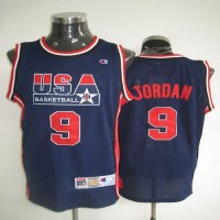 Dream Team USA Olympic 9# Michael Jordan Dark Blue With Red Number Stitched NBA Jersey