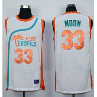 Flint Tropics #33 Jackie Moon White Semi-Pro Movie Stitched Basketball Jersey
