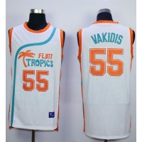 Flint Tropics #55 Vakidis White Semi-Pro Movie Stitched Basketball Jersey