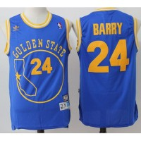 Golden State Warriors #24 Rick Barry Blue Throwback Golden State Stitched NBA Jersey