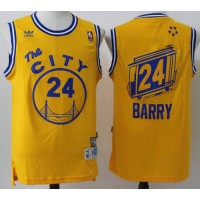 Golden State Warriors #24 Rick Barry Gold Throwback The City Stitched NBA Jersey
