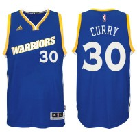 Golden State Warriors #30 Stephen Curry Royal Stretch Crossover Stitched NBA Jersey