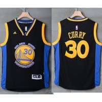 Golden State Warriors #30 Stephen Curry Black Blue Stitched NBA Jersey