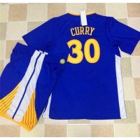 Golden State Warriors #30 Stephen Curry Blue Long Sleeve A Set Stitched NBA Jersey