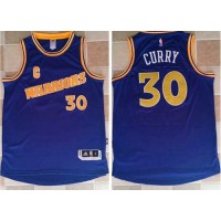 Golden State Warriors #30 Stephen Curry Blue New Throwback Stitched NBA Jersey