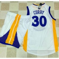 Golden State Warriors #30 Stephen Curry White A Set Stitched NBA Jersey