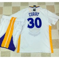 Golden State Warriors #30 Stephen Curry White Long Sleeve A Set Stitched NBA Jersey