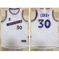 Golden State Warriors #30 Stephen Curry White New Throwback Stitched NBA Jersey