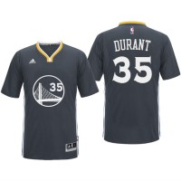 Golden State Warriors #35 Kevin Durant 2016 Alternate Black Sleeved Jersey