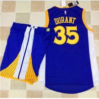 Golden State Warriors #35 Kevin Durant Blue A Set Stitched NBA Jersey
