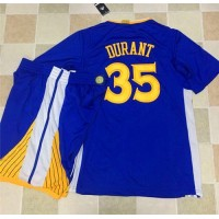 Golden State Warriors #35 Kevin Durant Blue Long Sleeve A Set Stitched NBA Jersey