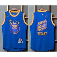 Golden State Warriors #35 Kevin Durant Blue Throwback The City Stitched NBA Jersey