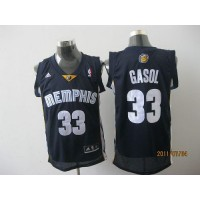 Grizzlies #33 Marc Gasol Revolution 30 Dark Blue Stitched NBA Jersey