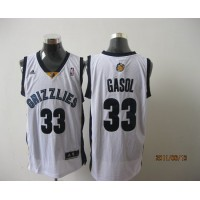 Grizzlies #33 Marc Gasol Revolution 30 White Stitched NBA Jersey