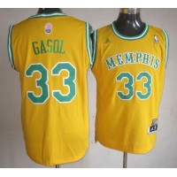 Grizzlies #33 Marc Gasol Yellow ABA Hardwood Classic Stitched NBA Jersey