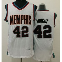 Grizzlies #42 Lorenzen Wright White Throwback Stitched NBA Jersey
