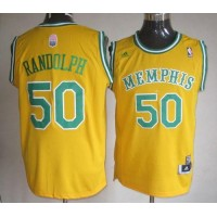 Grizzlies #50 Zach Randolph Yellow ABA Hardwood Classic Stitched NBA Jersey