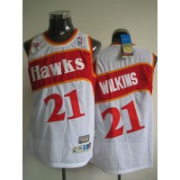 Hawks #21 Dominique Wilkins White Stitched Throwback NBA Jersey