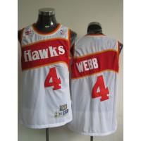 Hawks #4 Spud Webb White Stitched Throwback NBA Jersey