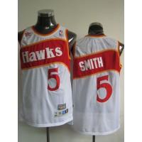 Hawks #5 Josh Smith White Stitched Throwback NBA Jersey
