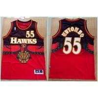 Hawks #55 Dikembe Mutombo Red Throwback Stitched NBA Jersey