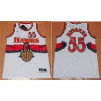 Hawks #55 Dikembe Mutombo White Throwback Stitched NBA Jersey