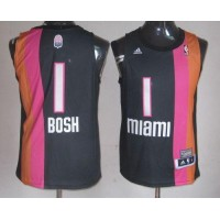Heat #1 Chris Bosh Black ABA Hardwood Classic Stitched NBA Jersey