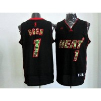 Heat #1 Chris Bosh Black Camo Fashion Stitched NBA Jersey