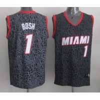 Heat #1 Chris Bosh Black Crazy Light Stitched NBA Jersey