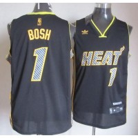 Heat #1 Chris Bosh Black Electricity Fashion Stitched NBA Jersey
