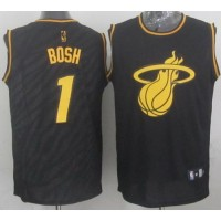 Heat #1 Chris Bosh Black Precious Metals Fashion Stitched NBA Jersey