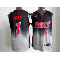 Heat #1 Chris Bosh BlackGrey Fadeaway Fashion Stitched NBA Jersey