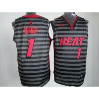 Heat #1 Chris Bosh BlackGrey Groove Stitched NBA Jersey