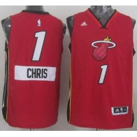 Heat #1 Chris Bosh Red 2014-15 Christmas Day Stitched NBA Jersey