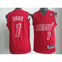 Heat #1 Chris Bosh Red Big Color Fashion Stitched NBA Jersey