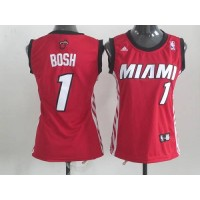 Heat #1 Chris Bosh Red Women's Alternate Stitched NBA Jersey