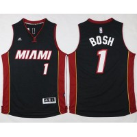 Heat #1 Chris Bosh Stitched Black NBA Jersey