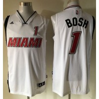 Heat #1 Chris Bosh Stitched White NBA Jersey