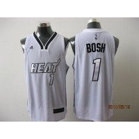 Heat #1 Chris Bosh White Silver No. Stitched NBA Jersey