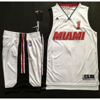 Heat #1 Chris Bosh White Throwback A Set Stitched NBA Jersey