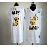 Heat #3 Dwyane Wade White Majestic 2012 NBA Champions Stitched NBA Jersey