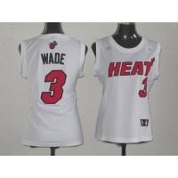 Heat #3 Dwyane Wade White Women Fashion Stitched NBA Jersey