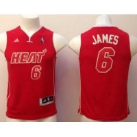 Heat #6 LeBron James Red Pride Swingman Stitched Youth NBA Jersey