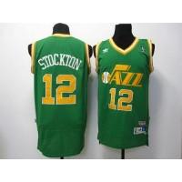Jazz #12 John Stockton Green Throwback Stitched NBA Jersey
