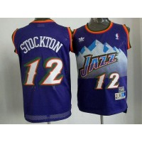 Jazz #12 John Stockton Purple Throwback Stitched NBA Jersey