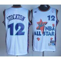 Jazz #12 John Stockton White 1995 All Star Throwback Stitched NBA Jersey