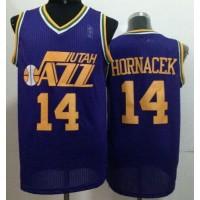 Jazz #14 Jeff Hornacek Purple Throwback Stitched NBA Jersey