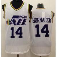 Jazz #14 Jeff Hornacek White Throwback Stitched NBA Jersey